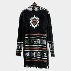 Aztec Long Cardigan Fringe Sweater - Black - Dempsey & Gazelle  - 1