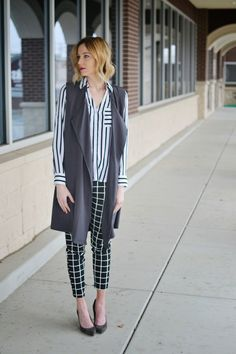 Black And White Windowpane Print Mixing Long Vest Grey Heels By