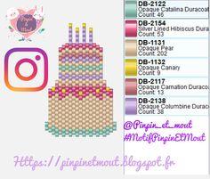 Gâteau d anniversaire brickstitch peyote en perles miyuki - Diagrammes perles Miyuki et Résine Blog DIY Pinpin et Mout