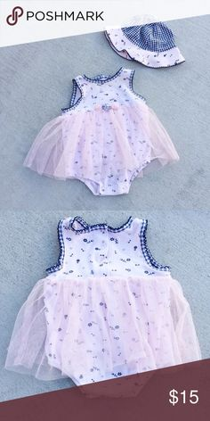 Tulle Romper & Hat Perfectly comfortable and cute floral print and gingham dress. Excellent condition. Snap rear and crotch buttons. Sleeveless. Matching sun hat. Could be fun for Valentine's Day in warmer weather. Little Me Dresses Casual