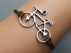 Silver bike Bracelet Wax Cord Bracelet Charm Bracelet