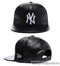 MLB New York Yankees Snapback Caps Anjustable Hats All Black Leather 431 Mlb  Baseball Caps 13ad36434857