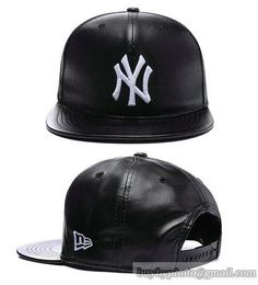 MLB New York Yankees Snapback Caps Anjustable Hats All Black Leather 431 only US$6.00 - follow me to pick up couopons.