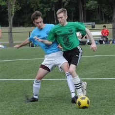 Lawrence Thorogood making a great defensive tackle on Adam Swann in the OTSL o20 Men's Soccer Division
