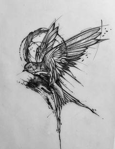 Raven tattoo, tattoo sketches, tattoo drawings, bird hand tattoo, skull r. Hand Tattoos, Neue Tattoos, Body Art Tattoos, Sleeve Tattoos, Bird Tattoo On Hand, Swallow Tattoo Design, Swallow Bird Tattoos, Tattoo Sketches, Tattoo Drawings