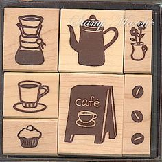 This is a cute wood / rubber stamp set of Kodomo No Kao. It is called stamp Marché set. Cute Coffee Cup, Cupcake, Coffee beans, Coffee pot and etc. so cute. These stamps are perfect to arrange your cute greeting cards and etc.    7 stamps in the case.    3cm wide - cupcake, coffee cup and coffee machine    3.5cm wide - coffee pot, cafe store stand    1.5cm wide - flowers in vase, coffee beans