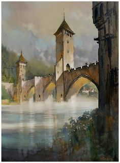 Pont Valentré - Cahors ; France by Thomas W. Schaller Watercolor ~ 30 inches x 22 inches