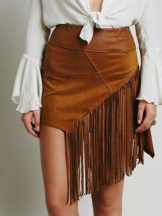 Liberty Garden Vegan Fringe Mini Skirt at Free People Clothing Boutique