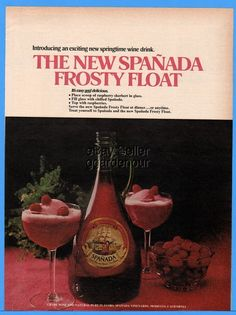 6464d0578bb0 1976 Spanada Grape Wine Frosty Float Drink Recipe Cocktail Raspberry  Sherbet AD