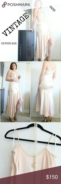 """Authentic vintage GUNNE SAX pink slit dress This rare Gunne Sax Jessica Mcclintock 40s style dress is a one of a kind beauty. This gem of a dress has a sexy slit all the way up to the thigh and has an asymmetrical high-low drape. The size is 9/10 which is a 27-28"""" waist. This vintage designer is highly sought after. Jessica McClintock Dresses High Low"""