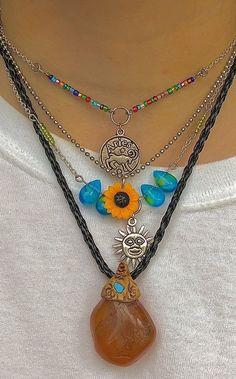 Hippie Jewelry, Cute Jewelry, Diy Jewelry, Jewelery, Jewelry Accessories, Jewelry Making, Funky Jewelry, Hippie Style, Mode Grunge Hipster