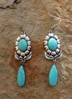 Cowgirl Tribal Native SPANISH FLOWER Turquoise EARRINGS Southwestern Gypsy #Unbranded #PIERCED