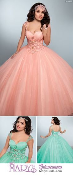 Style 4Q436: Sparkling tulle quinceanera ball gown with sweetheart neck line, pleated bust, beading details on bodice and shoulder straps, scallop basque waist line, and lace-up back. From Mary's Quinceanera Fall 2016 Princess Collection