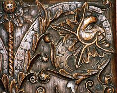 Stanton Green Man carving on a cupboard door at Stanton in the Cotswolds. Green Animals, Guy Pictures, Wiccan, Wood Carving, Old World, Wood Art, Celtic, Old Things, Bronze