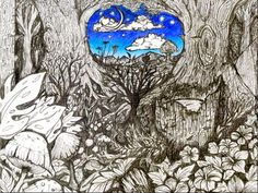 "trippy night art | Trippy ink drawing print ""Night Sky"""