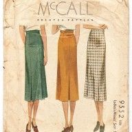 1940s vintage sewing pattern- fitted pencil skirt with low pleats
