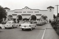 Cars enter the main gate at Hamilton Air Force Base in Novato in 1961.