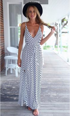 2f6ed505b81ba Women Striped Deep V-Neck Pleated Long Dresses Backless Maxi Dresses