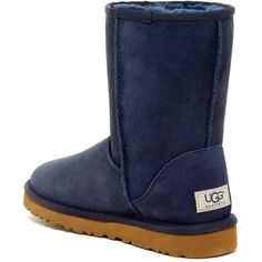 UGG Australia Classic Short Genuine Sheepskin Lined Boot ($130) ❤ liked on Polyvore featuring shoes, boots, ankle booties, ankle boots, nav, platform booties, round toe ankle boots, slip on ankle boots and short ankle boots