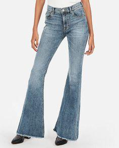 b1d66d5699907 Express Mid Rise Stretch Raw Hem Bell Flare Jeans. Pamela B · Fashion maven