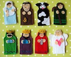 Para representar la natividad con marionetas para dedos.