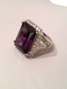 Vintage Amethyst and Diamond Estate Jewelry Ring, via Etsy.