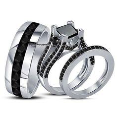 14k White Gold FN Rd Sim Diamond Wedding Band & Trio Engagement Bridal Ring Set #br925silverczjewelry #SolitaireAccents #EngagementWeddingAnniversaryPartyDailyWear