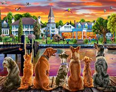 Dockside Dogs Jigsaw Puzzle, Most Popular Puzzles: Vermont Christmas Company Jigsaw Puzzle Store, 1000 Piece Jigsaw Puzzles, Back Painting, Cross Paintings, Dog Paintings, 5d Diamond Painting, Diamond Art, Beautiful Artwork, Beautiful Birds