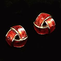 Tailored Button Earrings Vintage Avon Gold Tone Red Knot Pierced Estate V236 #Avon #Huggie