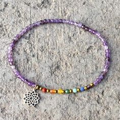 Crown Chakra Anklet, Chakra Gemstones and Amethyst Anklet Chakra Necklace, Chakra Jewelry, Anklet Jewelry, Beaded Anklets, Diy Jewelry, Gemstone Jewelry, Beaded Jewelry, Beaded Bracelets, Diy Bracelet