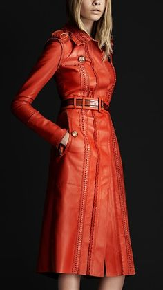 Love this Red/Orange leather trench #leather OMG! I love this and it will look amazing going into a meeting as well! #coffeetalk