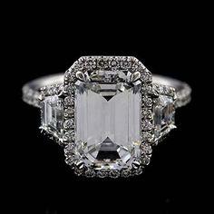 Emerald Diamond Engagement Ring, Trapezoid Diamond Halo Engagement Ring, Cut  Down Micro Pave Set Diamond Engagement Ring Setting Mounting