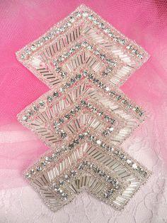 XR87 Silver Beaded Crystal Rhinestone Applique Epaulet | eBay