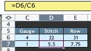 Using Excel to aid in writing multi-sized patterns