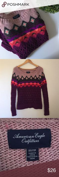 AEO Ski Sweater Multicolored purples and pinks make up the majority of this fun AEO ski sweater. Size XXS. EUC. American Eagle Outfitters Sweaters Crew & Scoop Necks