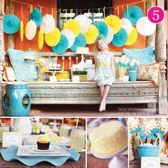 Love the back of the top pic. Yellow White and Blue Decor