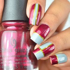 Lovely manicure by @Lifeisnails using our Straight Nail vinyls to create perfect lines. Find them at snailvinyls.com