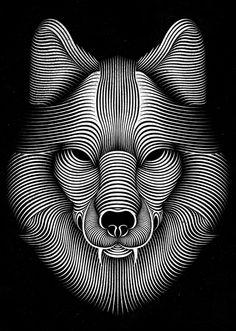 Optical illusion wolf