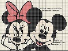 Grille gratuite point de croix : Mickey et Minnie complice