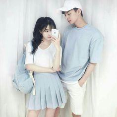 Korean Fashion – How to Dress up Korean Style – Designer Fashion Tips Mode Ulzzang, Ulzzang Girl, Ulzzang Fashion, Asian Fashion, Punk Fashion, Matching Couple Outfits, Matching Couples, Matching Clothes, Korean Couple