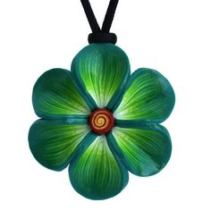 Mint green necklace Spring flower necklace polymer by ShuliDesigns, $18.00