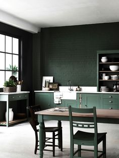 Most Popular Kitchen Design Ideas Green Kitchen, Kitchen Decor, Kitchen Ideas, Rustic Kitchen, Paint For Kitchen Walls, Green Interior Design, Home Decor Baskets, Living Room Seating, Küchen Design