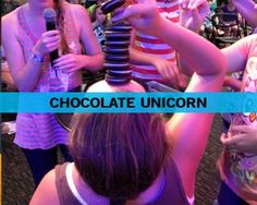 Chocolate Unicorn - stack as many oreos on forehead in sixty seconds (or do the oreo on face into mouth game)