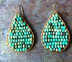 Faceted chrysoprase gemstone wire wrapped hoop by VivianRDesigns