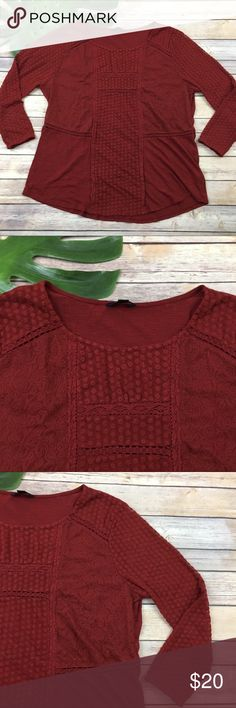 Lucky Brand red crochet trim boho top Lucky Brand red 3/4 sleeve boho top, size XL. It is free from any rips or stains. It measures about 47 inches around the bust and is about 26 inches long. Lucky Brand Tops Tees - Long Sleeve