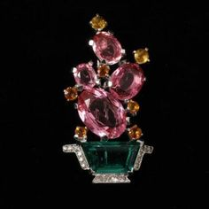 """Trifari Alfred Philippe Emerald and Pink Flowering Cactus in a Pot Jeweled Brooch Pin 2"""""""