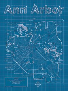 Ann Arbor Artistic Blueprint Map