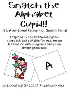 This game provides a fun way to practice identifying letters and their sounds.Both upper and lowercase letters are included.How to Play:print on card stock, cut, and laminate. 2-4 players. Scatter cupids through out the deck. Lay cards face down. Take turns flipping over the top card, saying the letter name and sound.