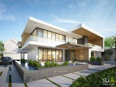 House Front Design, Modern House Design, New Home Designs, Cool House Designs, Building Facade, Modern House Plans, Home Pictures, Exterior Design, Modern Architecture