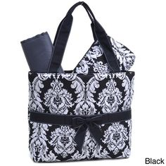Rosen Damask Print 3-piece Diaper Bag Set | Overstock™ Shopping - Great Deals on Tote Bags